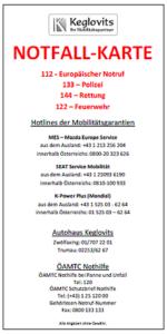 Notfallkarte Autohaus Keglovits
